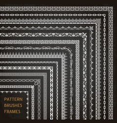 border frame line pattern brushes corners 1 vector image