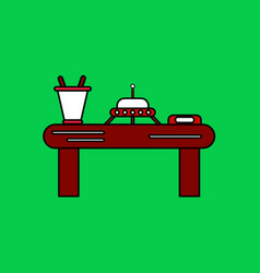 Flat icon design collection flying saucer on table vector