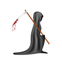 Grim reaper with bloody scythe vector