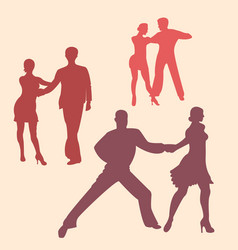 latina dancing silhouettes vector image