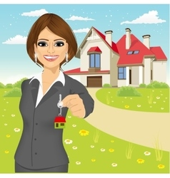 real estate agent holding the key of a new house vector image
