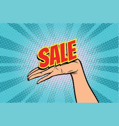 sale word women open palm hand hold gesture vector image vector image
