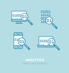 Simple icons set of analytics flat thin line vector