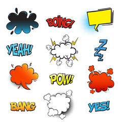 bang comic bubble speech and smash omg and pow vector image vector image