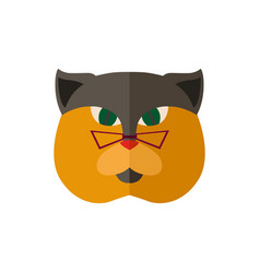 British cat head with glasses icon vector