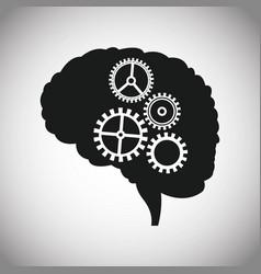 dark brain gears inspiration vector image