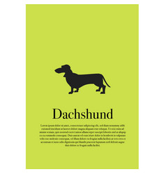 dog dachshund silhouette poster vector image vector image