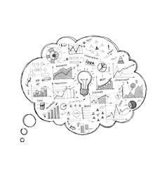 Doodle speech bubble icon with infographics vector image