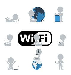 Flat people Internet and technology vector image