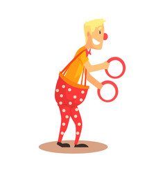funny friendly clown juggling with rings circus vector image vector image