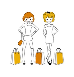 Shopping girls with sale bags vector image vector image