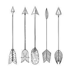 tribal indian arrow set vector image