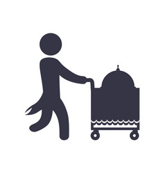 Waiter pushing food cart vector