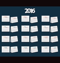 calendar 2016 new year template design vector image vector image