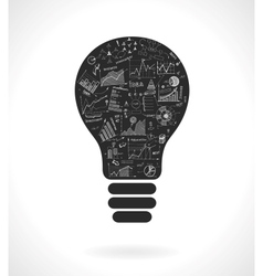Doodle idea lightbulb icon with infographics vector image vector image