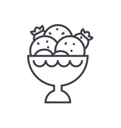 ice cream bowl line icon sign vector image vector image