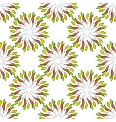 Seamless pattern of colored leaves on an orange vector image vector image