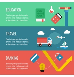 Set of banners including travel education and vector image