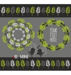 Set of decorative elements with plants vector image