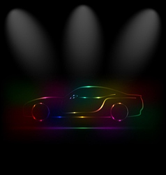 Silhouette of colorful car in darkness vector image