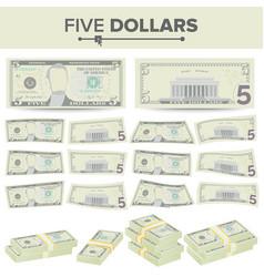 5 dollars banknote cartoon us currency vector image