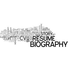 Biography word cloud concept vector