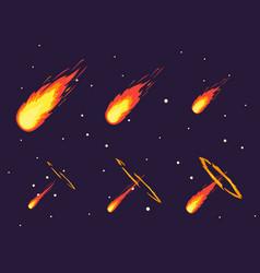cartoon comet effect stages set vector image vector image