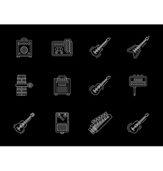 Guitars white line icons collection vector image