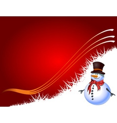Red Christmas background with snowman vector image vector image