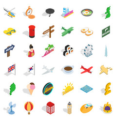 summer icons set isometric style vector image