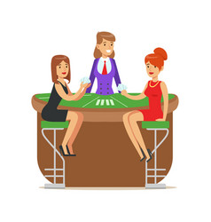 two beatuful girls playing cards in a luxury vector image