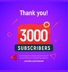 3000 followers post 3k celebration three vector image