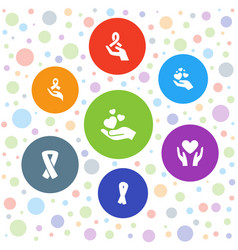 7 charity icons vector