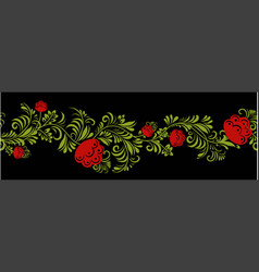 Abstract seamless border floral isolated on black vector