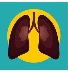 after smoking lungs icon flat style vector image
