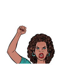 Angry protester african woman rally resistance vector