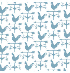 Background pattern with rooster weather vane vector