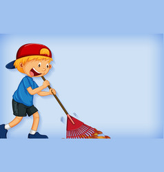 Background template design with happy boy raking vector