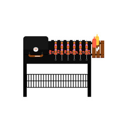 barbecue gas grill with grilled kebabs icon vector image