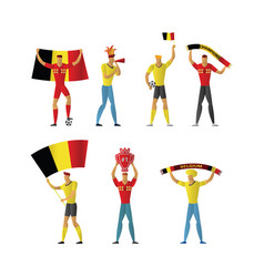 Belgium football fans cheerful soccer vector