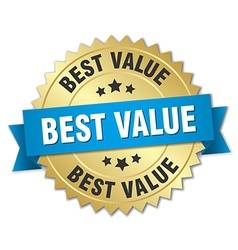 Best value 3d gold badge with blue ribbon vector