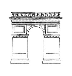 black blurred silhouette monument arch antique vector image