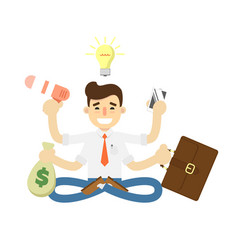 businessman with many hands icon vector image