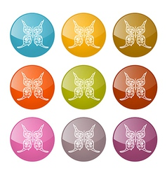 Butterflies Icons Colorful Set vector image