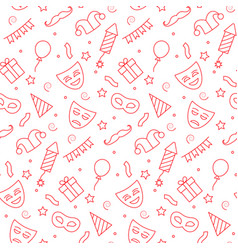 carnival seamless pattern in thin line style vector image