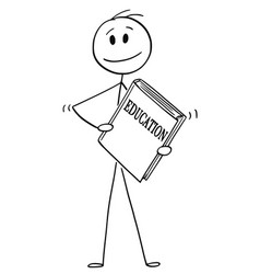cartoon of man holding big book of education vector image
