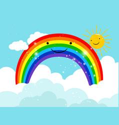 cartoon smiling rainbow in sky vector image