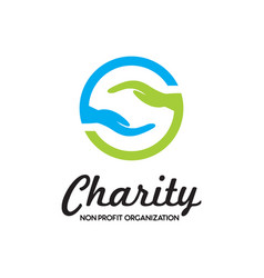 charity hand care donation logo vector image