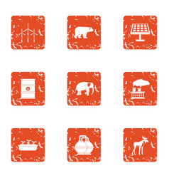 Chemical factory icons set grunge style vector