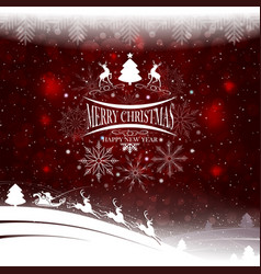 christmas design with a silhouette of christmas vector image